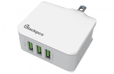 BLACKPCS CARGADOR DE PARED 3 PUERTOS USB,  BLANCO 5V - TiendaClic.mx