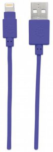CABLE ILYNK LIGHTNING MANHATTAN (8P A USB) MORADO 1.0 MTS 394239 - TiendaClic.mx