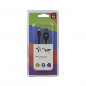 CABLE STYLOS PARA IPHONE 8 PINES NEGRO 1 MT (STACBI1B) - TiendaClic.mx