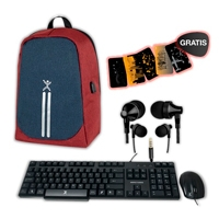 MOCHILA ANTI-ROBO ROJO+KIT TECLADO/ MOUSE ALAMBRICO ANTIDERRAMES+AUDIFONOS ALAMBRICOS STRETTO PERFECT CHOICE - TiendaClic.mx