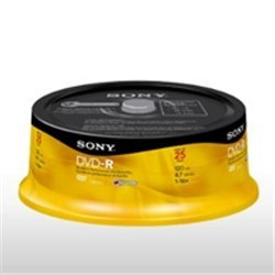 CAMPANA DE 25 PZS DVD RW SONY 4.7GB, 16X, RE-GRABABLE, VIRGEN - TiendaClic.mx