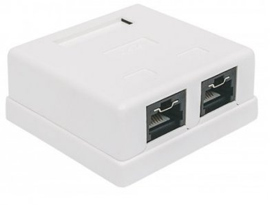 CAJA PARA PARED ROSETA INTELLINET RJ45 CAT5E 2 PTOS C/ BLOQUEO - TiendaClic.mx