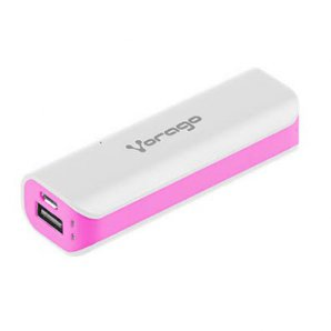 POWER BANK VORAGO AU-107 2600 mAh BLANCO/  ROSA - TiendaClic.mx