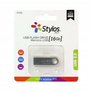 MEMORIA USB STYLOS 16GB FLASH 2.0 PLATA (STMUSB2B) - TiendaClic.mx