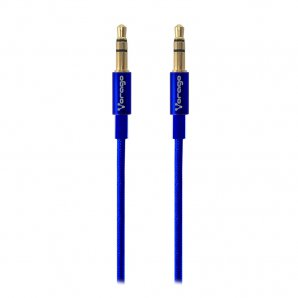CABLE DE AUDIO VORAGO CAB-108 3.5 MM REDONDO METALICO AZUL - TiendaClic.mx