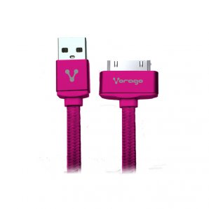 CABLE VORAGO CAB-118 USB-APPLE DOCK 1 METRO ROSA BOLSA - TiendaClic.mx
