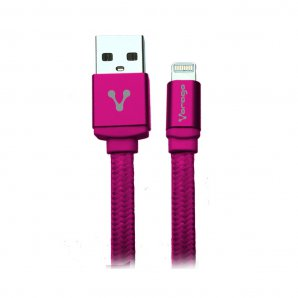 CABLE VORAGO CAB-119 ROSA USB-APPLE LIGHTNING 1 METRO ROSA BOLSA - TiendaClic.mx