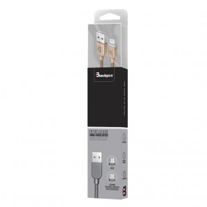 (CA-EXCELENCE) CABLE LIGHTNING GRIS 1M TEJIDO 2.1A BLACKPCS(CAGYLTE-3) - TiendaClic.mx