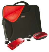 KIT 3 EN 1 PARA NETBOOK 10 ROJO (FUNDA+HUB+MOUSE) - TiendaClic.mx