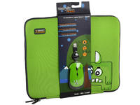 KIT FUNDA PARA LAPTOP Y MOUSE MONZTERZ COLOR VERDE (ORN) - TiendaClic.mx