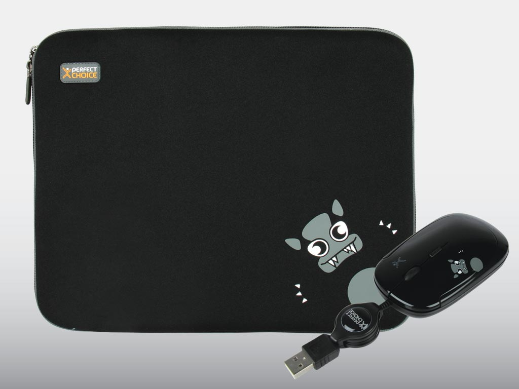 KIT FUNDA PARA LAPTOP Y MOUSE MONZTERZ NEGRO (MINO) - TiendaClic.mx