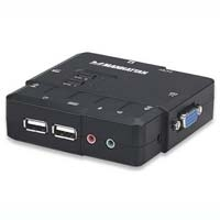 SWITCH KVM MANHATTAN 2 PTOS USB Y 2 PTOSVGA 3.5MM 1600X900 CON JUEGO CABLES - TiendaClic.mx
