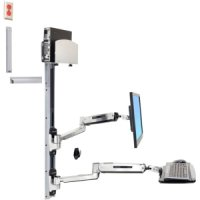 LX SIT STAND WALL MOUNT SYSTEM MED SILVER CPU HOLDER,  POLISHED - TiendaClic.mx