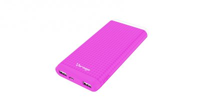 POWER BANK VORAGO PB-400 /  10000 MAH /  2 ENTRADAS USB /  ROSA  - TiendaClic.mx