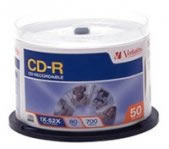 CD-R VERBATIM 80MIN 700MB 52X TORRE C/50 PZAS SPINDLE - TiendaClic.mx